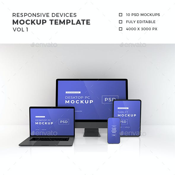 Responsive Devices Mockup Template Vol 1