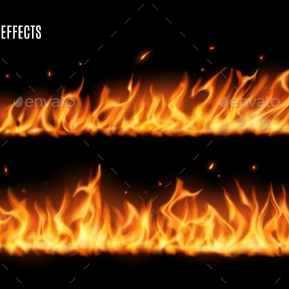 Long Burning Fire Tongues Realistic Vector Flame