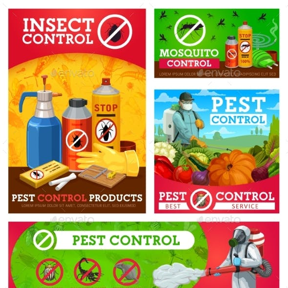 Insect Control Vector Posters Pest Control Service