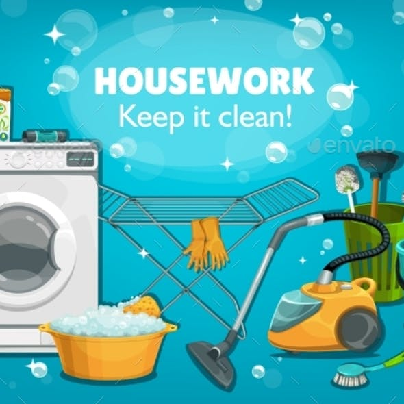 Housework Untesils and Laundry Tools Vector Poster