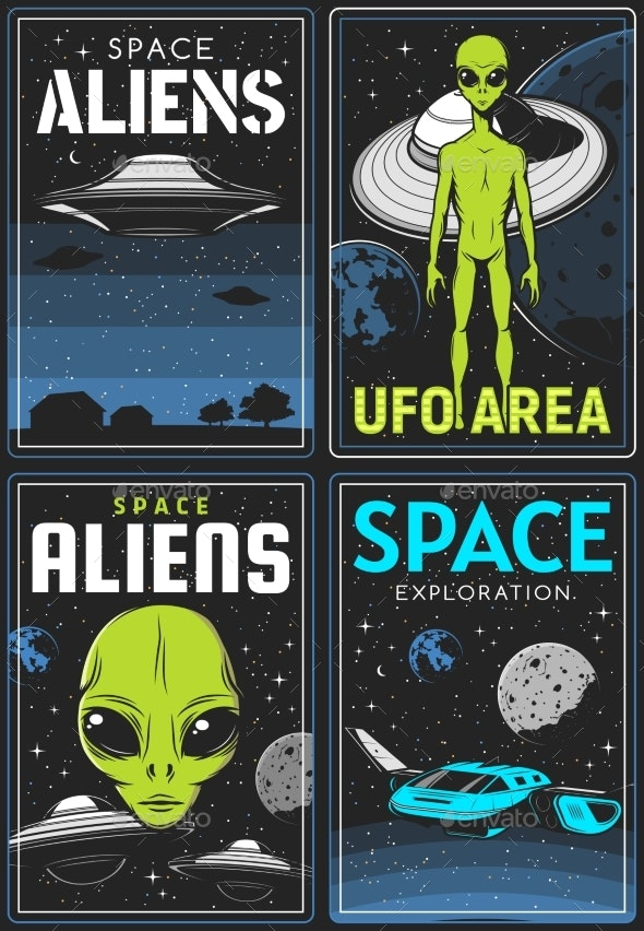 Retro Posters with Alien and Ufo Area Vector Cards - Technology Conceptual