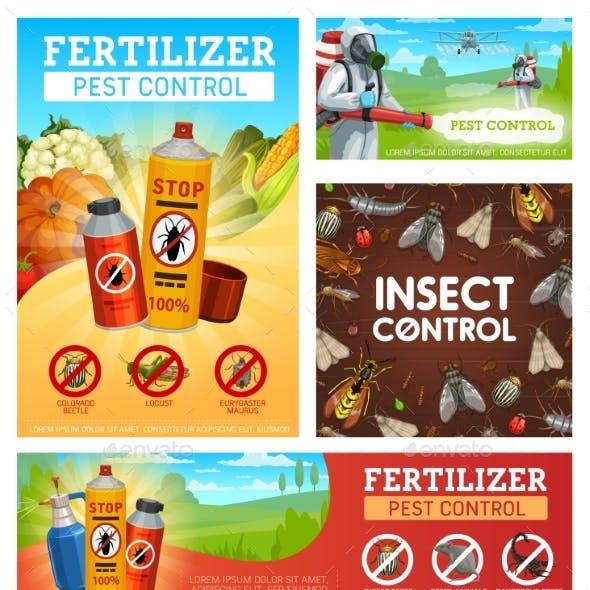 Fertilizer Pest Control, Disinsection Posters Set