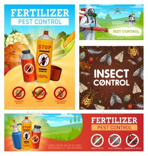 Fertilizer Pest Control, Disinsection Posters Set - Industries Business