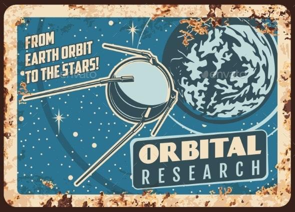 Satellite Orbital Research Vector Rusty Plate - Technology Conceptual