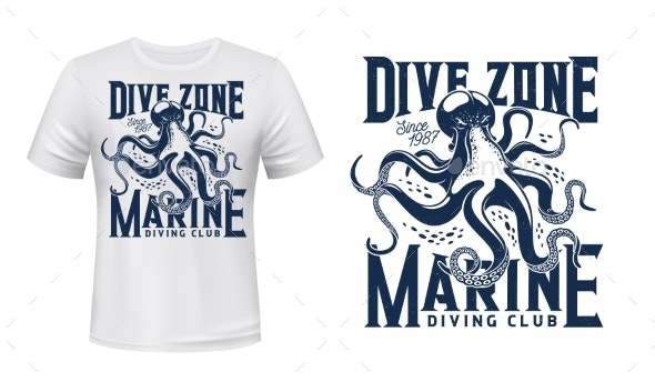 T-shirt Print with Octopus for Scuba Dive Club - Objects Vectors
