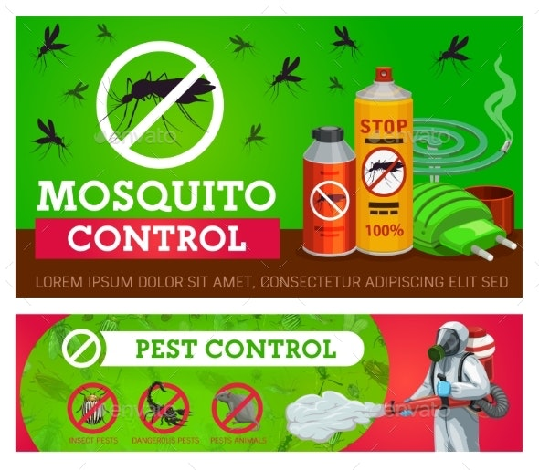 Pest Control, Mosquito Disinsection Vector Banners - Industries Business