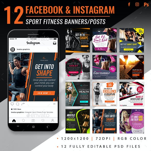 Facebook & Instagram Sport Fitness Banners
