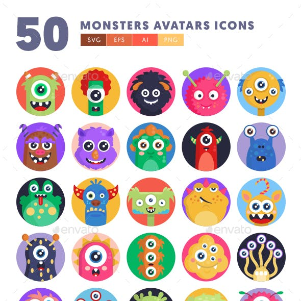 50 Monsters Avatars Icons