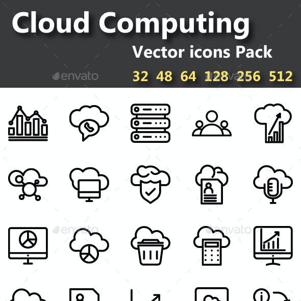 50 Cloud Computing Line and Fill Vector icons