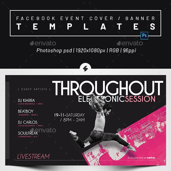 Live Streaming DJ Session 2 – Facebook Event Cover / Banner Templates