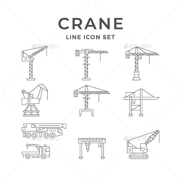 Set Line Icons of Crane