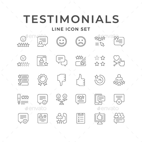 Set Line Icons of Testimonials - Media Icons