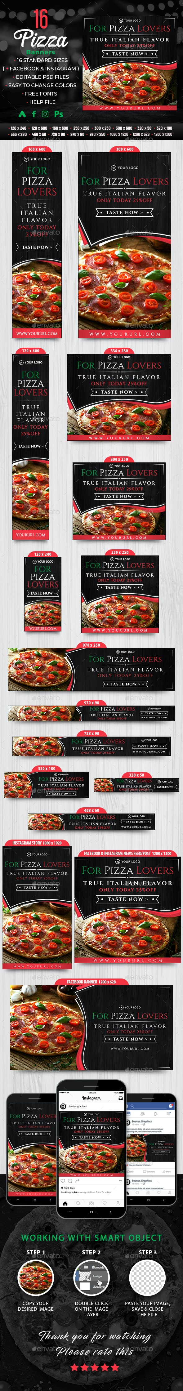 Pizza Banners - Banners & Ads Web Elements
