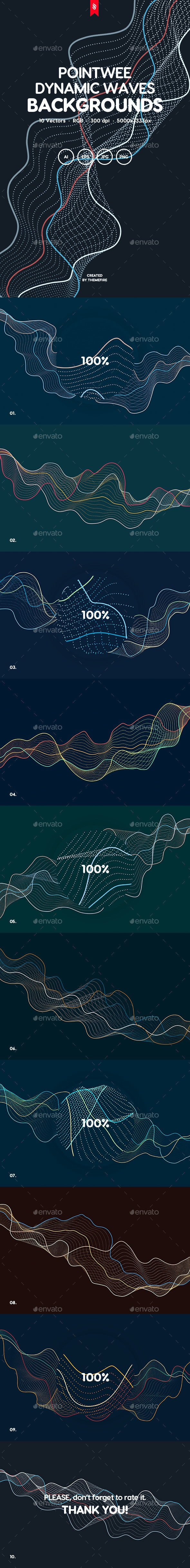 Pointwee - Dynamic Waves of Dots and Lines Vector Backgrounds - Tech / Futuristic Backgrounds