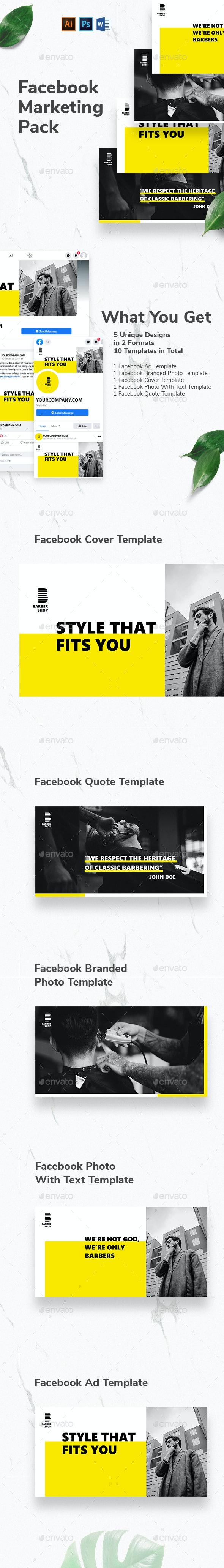 Barbershop Facebook Marketing Materials - Facebook Timeline Covers Social Media