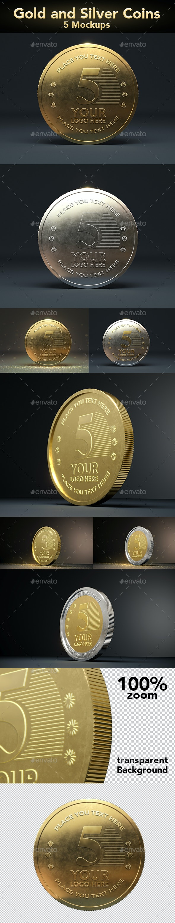 Gold Coin Mockups - Product Mock-Ups Graphics
