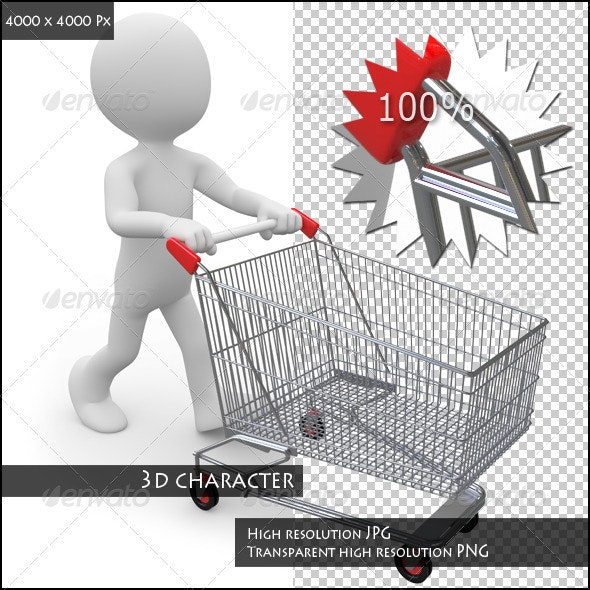 Man Pushing a Shopping Cart Empty - 3D Renders Graphics