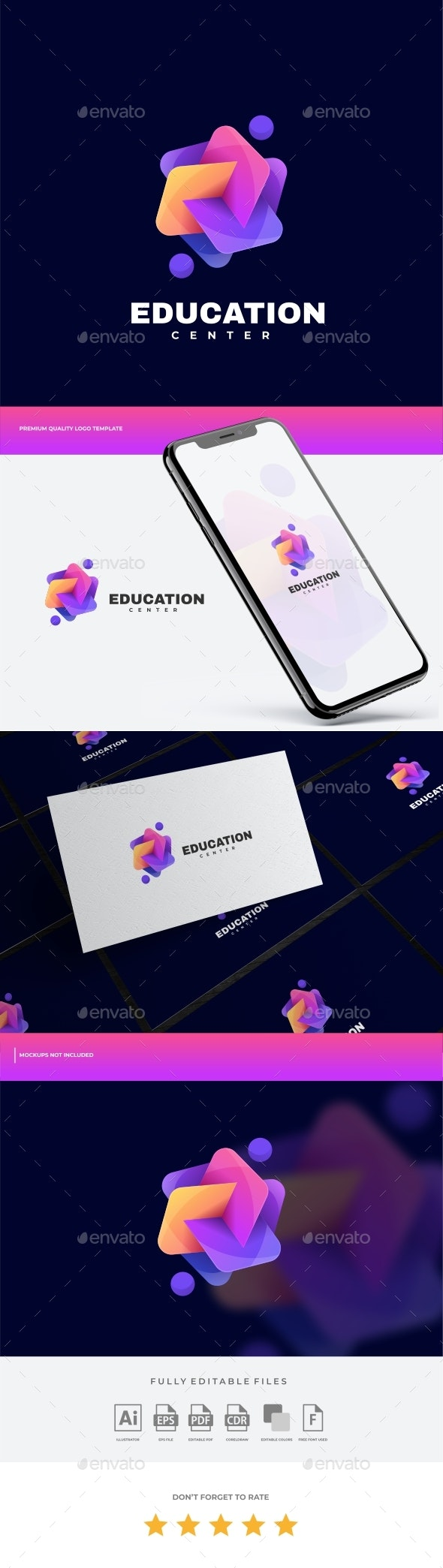 Education Gradient Colorful Logo Template - Abstract Logo Templates