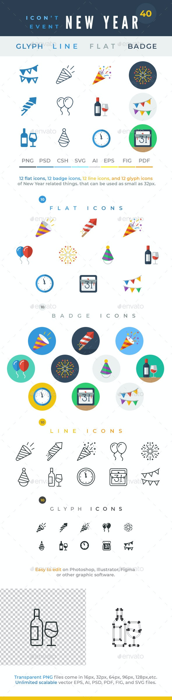 Icon't Event - 40 New Year Icons - Seasonal Icons