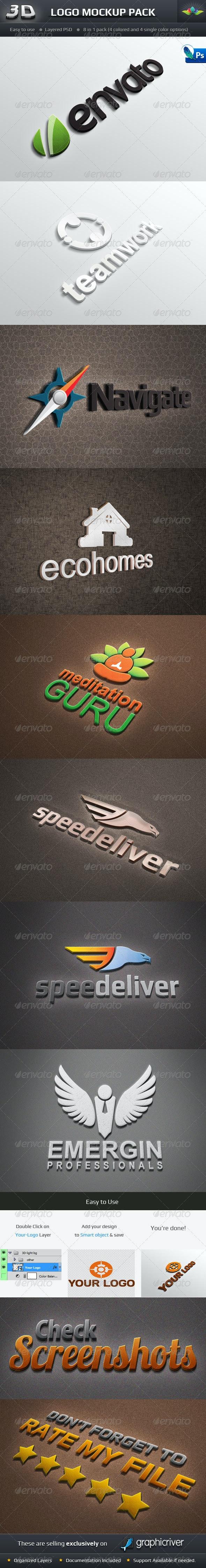 Photorealistic 3D Logo Mockup Pack - Logo Product Mock-Ups