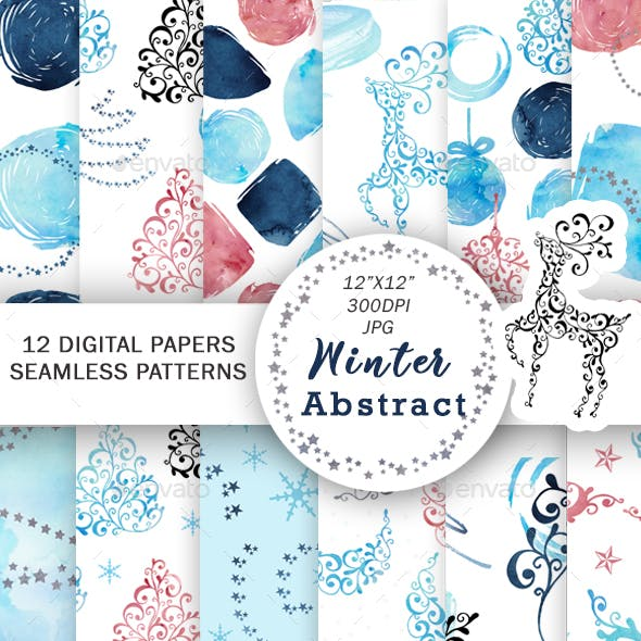 Christmas Digital Paper Watercolor Abstract Patterns