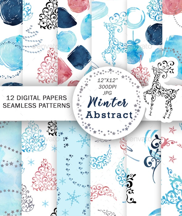 Christmas Digital Paper Watercolor Abstract Patterns - Patterns Decorative