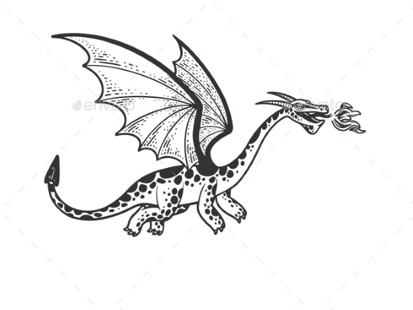 Dragon Sketch Vector Illustration - Monsters Characters