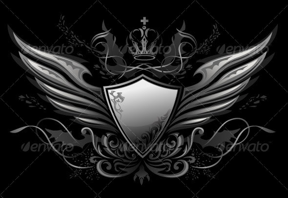 Gothic Shield Insignia 2 - Backgrounds Decorative