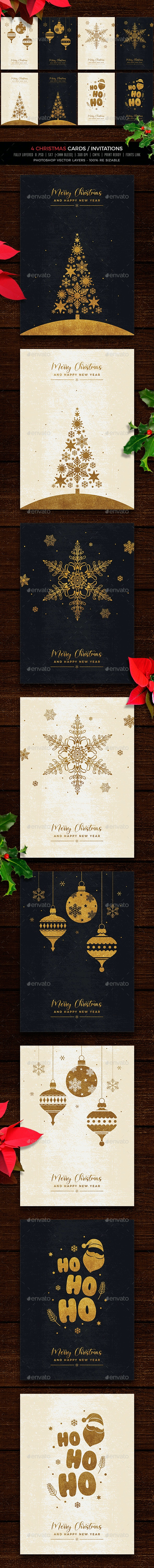 Gold & Vintage Christmas Cards/Invitations - Cards & Invites Print Templates