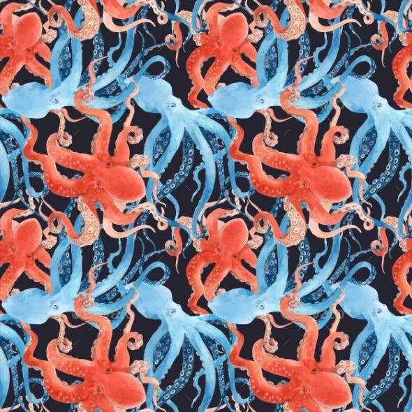 Beautiful Vector Seamless Underwater Pattern with