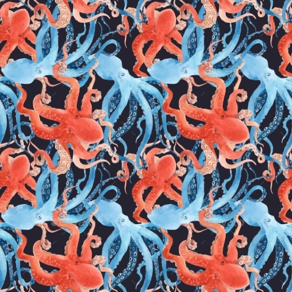 Beautiful Vector Seamless Underwater Pattern with - Miscellaneous Illustrations