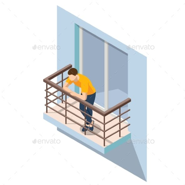 Isometric Man Resting on an Open Balcony in Summer