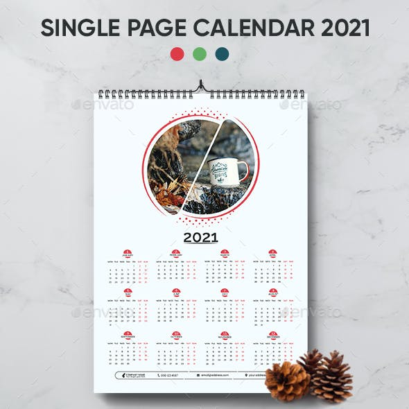 Single page calendar 2021