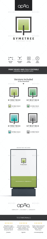 Square Pixel Tree Logo - Nature Logo Templates