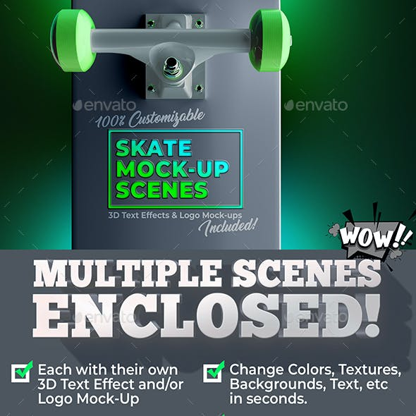 3D Customizable Skate Mock-Up Scene Pack & 3D Text Effects