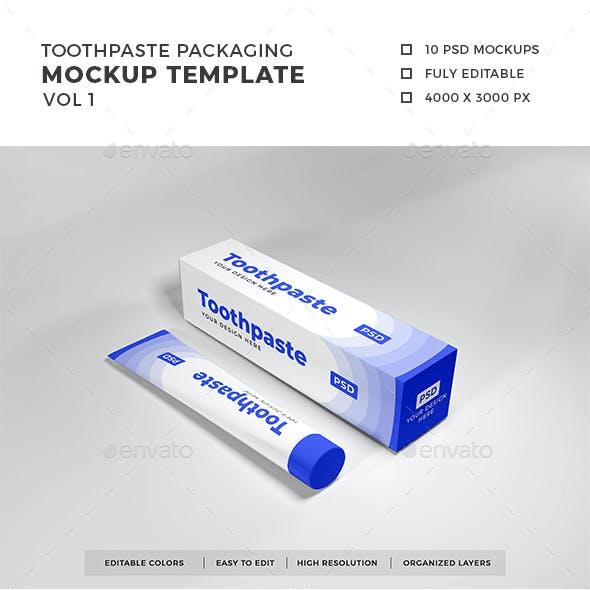 Toothpaste Packaging Mockup Template Vol 1