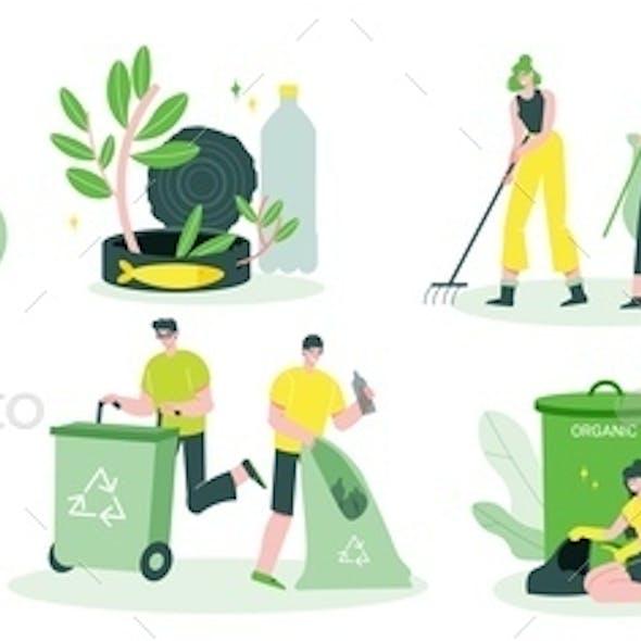 Garbage Recycling Flat Set