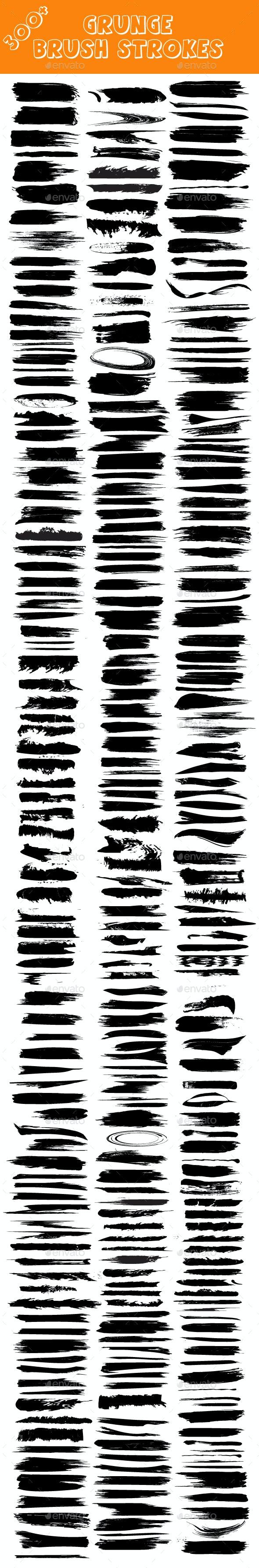 Set of Grunge Brush Strokes - Flourishes / Swirls Decorative