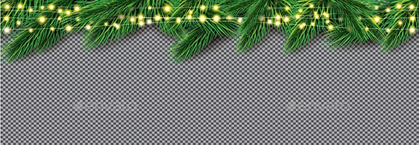 Fir Branch with Neon Lights on Transparent Background - Christmas Seasons/Holidays