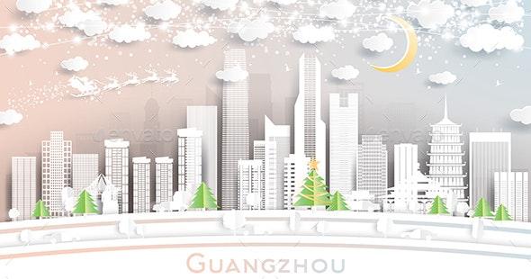 Guangzhou China City Skyline in Paper Cut Style - Christmas Seasons/Holidays