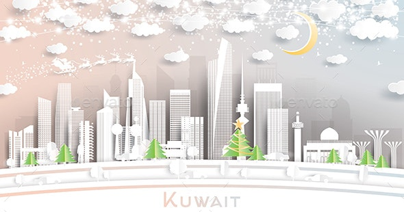 Kuwait City Skyline in Paper Cut Style with Snowflakes - Buildings Objects