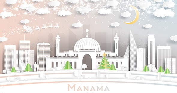 Manama Bahrain City Skyline in Paper Cut Style with Snowflakes - Christmas Seasons/Holidays