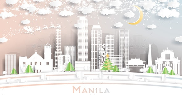 Manila Philippines City Skyline in Paper Cut Style with Snowflakes - Christmas Seasons/Holidays