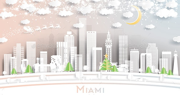 Miami Florida City Skyline in Paper Cut Style with Snowflakes - Christmas Seasons/Holidays