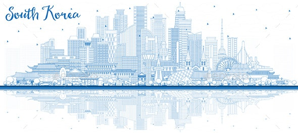 Outline South Korea City Skyline with Blue Buildings and Reflections - Buildings Objects