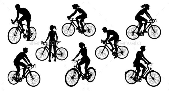 Bicycle Riding Bike Cyclists Silhouettes Set - Sports/Activity Conceptual