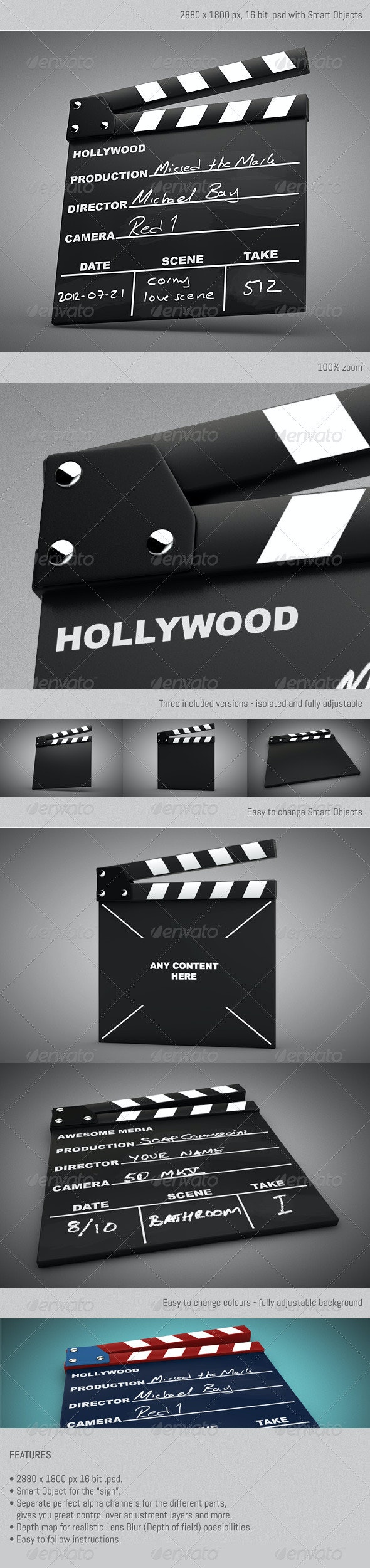 Movie Clapper Kit - Objects 3D Renders