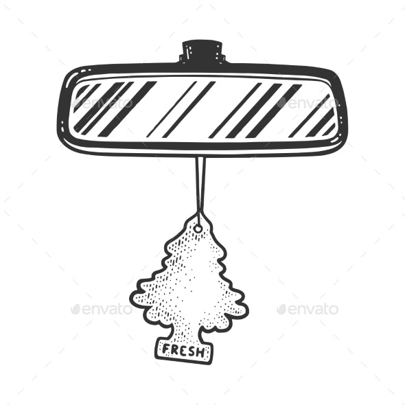 Rear View Mirror Tree Air Freshener Sketch Vector - Man-made Objects Objects