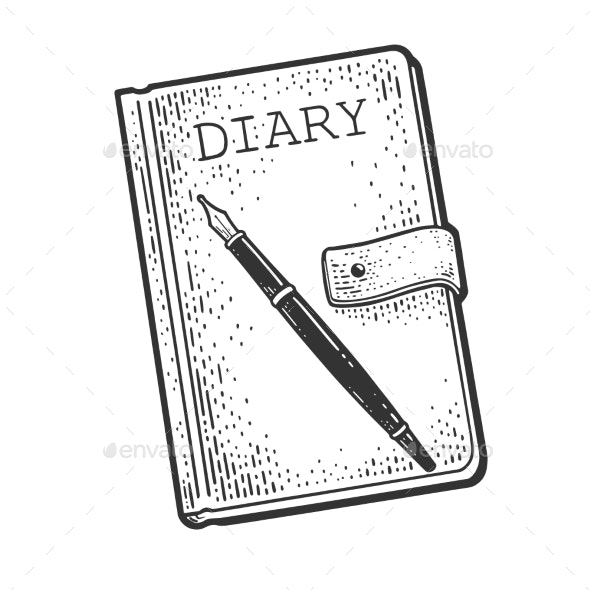 Diary Book with Pen Sketch Vector Illustration - Man-made Objects Objects