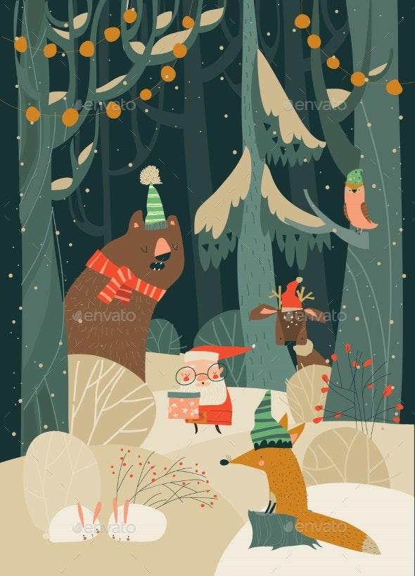 Cartoon Santa Claus with Animals in the Winter - Christmas Seasons/Holidays